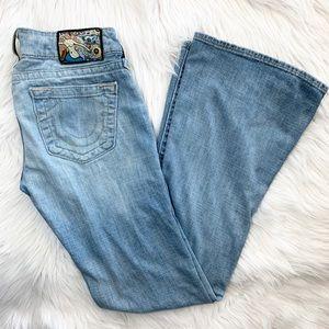 True Religion Medium Wash Flare Caroline Jeans